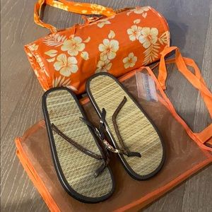 Beach mat with sandals and bag